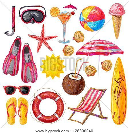 Summer holiday decorative icons set with sun icecream surfboard starfish shells mask snorkel flippers   isolated vector illustration
