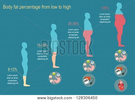 The degree of obesity. Vector illustration. The progression of obesity. Infographics. Body fat percentage from low to high. Diseases from obesity. Flat design.