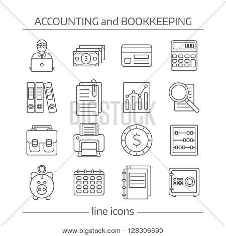 Icon flat set with linear symbols of bookkeeping and accaunting vector illustration