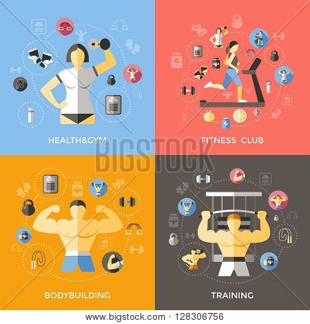 Lifestyle of bodybuilder concept with training fitness club sportive equipment gymnastics treadmill healthy diet isolated vector illustration