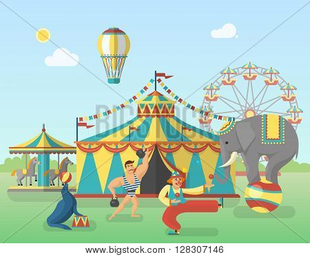 Circus performance in park poster with tent balloon strongman elephant seal clown carousel with horses vector illustration