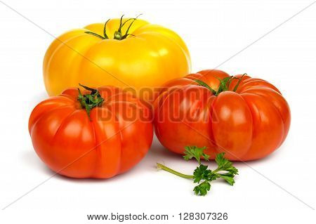Fresh ripe red and yellow tomatoes and a sprig of parsley  isolated on white background.