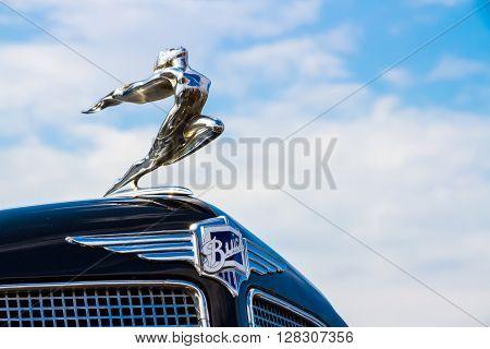 Minsk, Belarus - May-5-2012: Logo Of Vintage Buick Motor Car Close Up At Old Car Fest Show In Minsk,