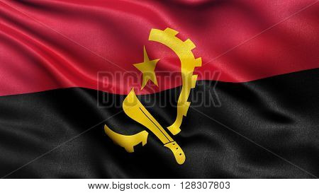 Flag of Angola waving in the wind. 3D illustration.
