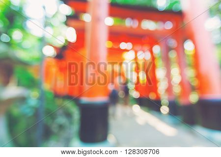 Blurred Orange Gates Of Fushimi Inari Shrine In Japan