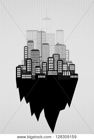illustration of urban city skyline, black and white