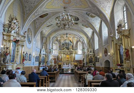 LESNIOW POLAND - 01 May 2016: Interior of church in Leśniów Sanctuary. Lesniow sanctuary is holy place in Poland a place of blessing.