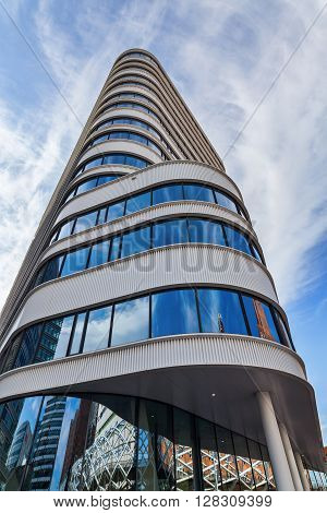 The Hague Netherlands - April 21 2016: Monarch Tower in The Hague. It is a 15 storey and 6246 m high office building designed by Meyer van Schoten architects completed 2013