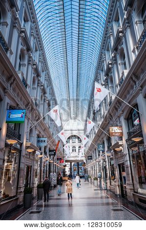 The Hague Netherlands - April 21 2016: The Passage with unidentified people the only example in Netherlands of covered shopping street popular in European and American cities during 19th century