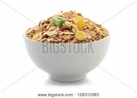 Muesli breakfast in bowl isolated on white background