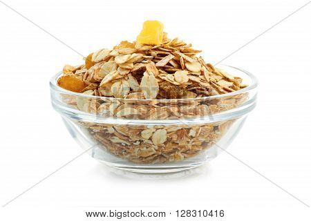 Muesli breakfast in glass  bowl isolated on white background