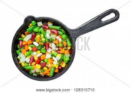 Mixed Vegetable Meal In Old Frying Pan Isolated On White.