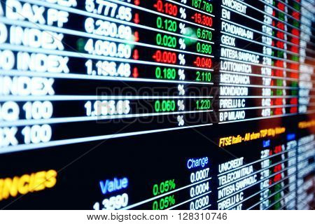 Stock exchange market business concept with selective focus effect