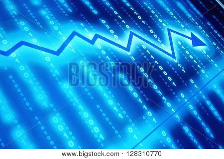 Abstract financial graph with glowing arrow