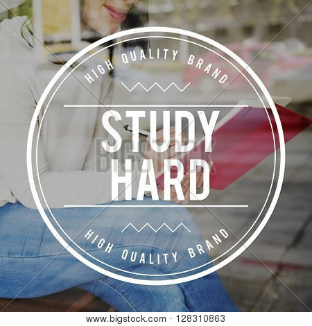 Study Hard Badge Logo Word Concept