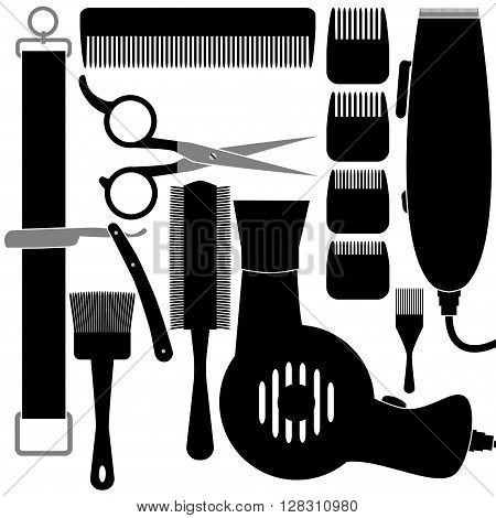 Illustration set of tools for hairdressing salon in silhouette on a white background.