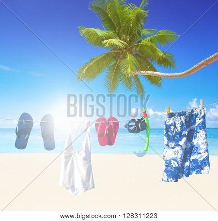 Clothesline on tropical beach.