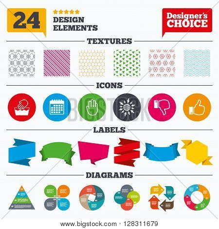 Banner tags, stickers and chart graph. Hand icons. Like and dislike thumb up symbols. Not machine washable sign. Stop no entry. Linear patterns and textures.