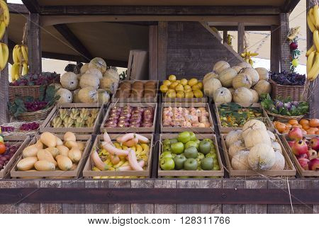 MILAN, ITALY - JUNE 29 2015: False fruit and vegetable in a stall at Expo 2015 in Milan