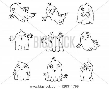 Halloween Ghost vector pack. Collection of cartoon vector graphic elements with Halloween motives.