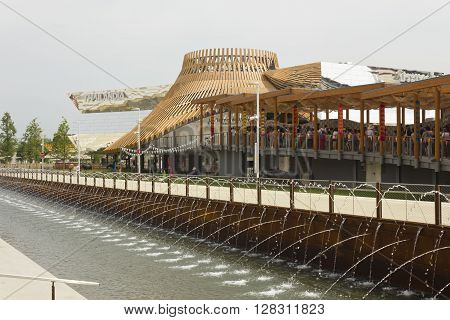 MILAN, ITALY - JUNE 29 2015: Lateral view of Thailand Pavilion at Expo 2015 universal exhibition on the theme of food held in Italy in 2015