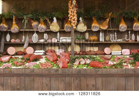 MILAN, ITALY - JUNE 29 2015: False meat in a stall at Expo 2015 in Milan, Universal Exhibition held from May to October 2015