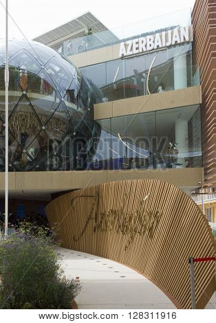 MILAN, ITALY - JUNE 29 2015: Architectural close up of Azerbaijan Pavilion at Expo 2015 Universal exhibition on the theme of food held in Italy from May to October 2015
