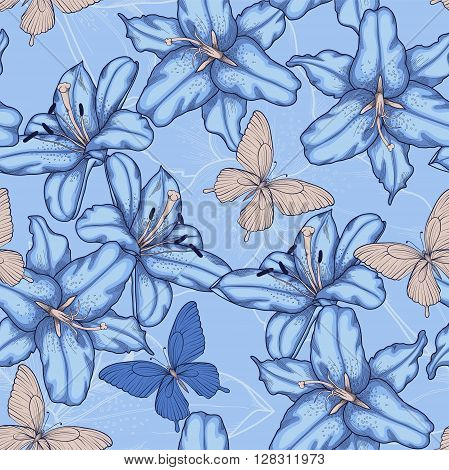 Beautiful seamless background with blue lilies. Hand-drawn contour lines and strokes.