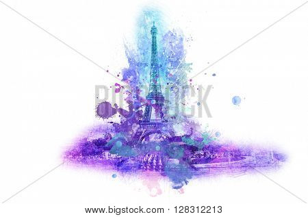 Symbolic celebration or souvenir graphic with Eiffel tower in France portrayed in splattered paint over white background