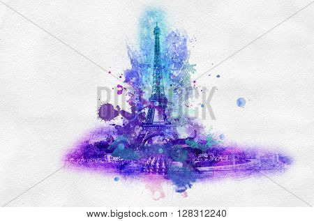 Symbolic celebration or souvenir graphic with Eiffel tower in France portrayed in splattered paint over gray background