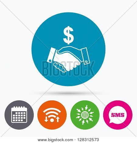 Wifi, Sms and calendar icons. Dollar handshake sign icon. Successful business with USD currency symbol. Go to web globe.