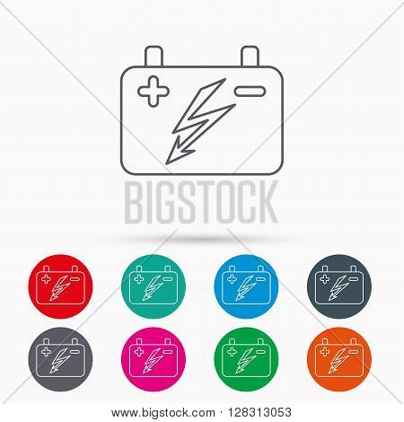 Accumulator icon. Electrical battery sign. Linear icons in circles on white background.