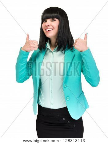 Businesswoman showing thumbs up hand sign. Successful and beautiful caucasian business woman isolated on white background.