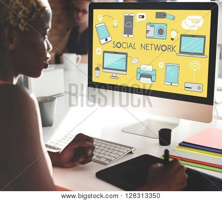 Social Network Icons Graphics Concept