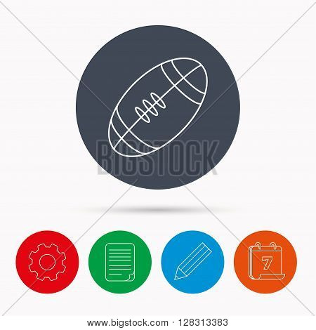 American football icon. Sport ball sign. Team game symbol. Calendar, cogwheel, document file and pencil icons.