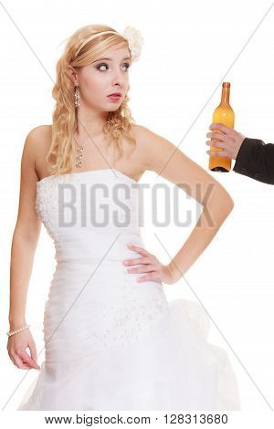 Wedding couple unhappy bride with alcoholic drinking groom. Woman looking her future make decision - violence alcoholism problems concept