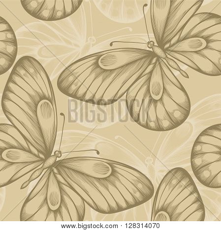 Beautiful seamless background with brown butterflies. Hand-drawn contour lines and strokes. Perfect for background greeting cards and invitations