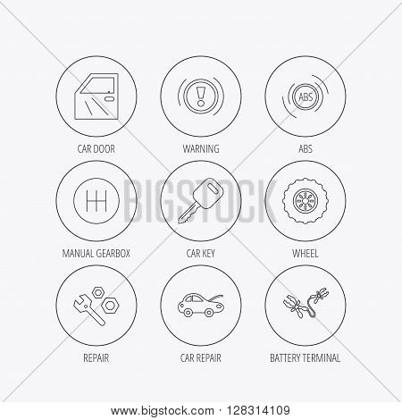 Car key, repair tools and manual gearbox icons. Wheel, warning ABS and battery terminal linear signs. Linear colored in circle edge icons.