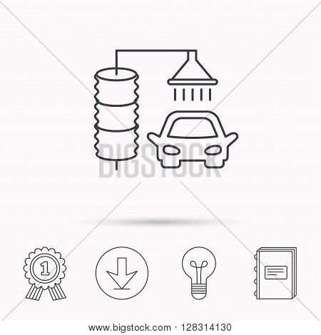 Automatic carwash icon. Cleaning station sign. Download arrow, lamp, learn book and award medal icons.