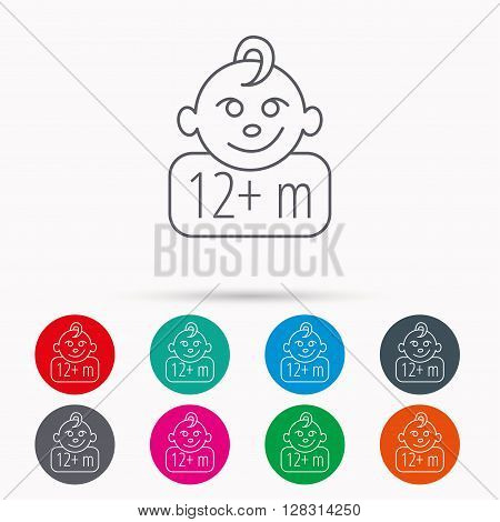 Baby face icon. Newborn child sign. Use of twelve months and plus symbol. Linear icons in circles on white background.