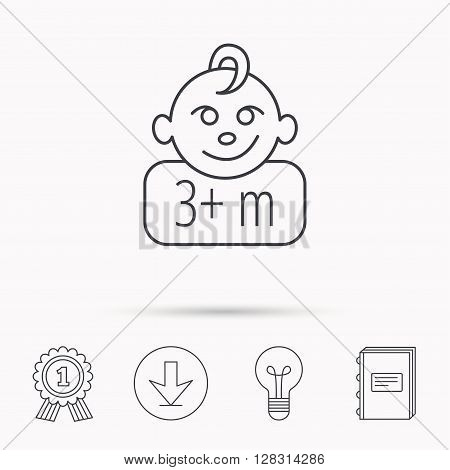 Baby face icon. Newborn child sign. Use of three months and plus symbol. Download arrow, lamp, learn book and award medal icons.