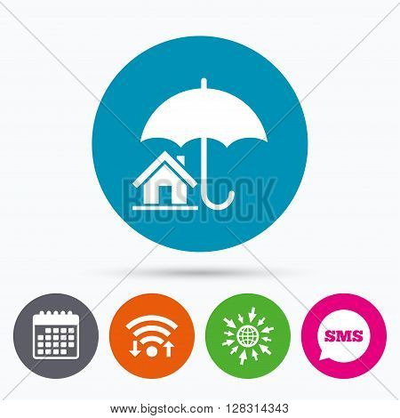 Wifi, Sms and calendar icons. Home insurance sign icon. Real estate insurance symbol. Go to web globe.