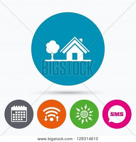 Wifi, Sms and calendar icons. Home sign icon. House with tree symbol. Go to web globe.