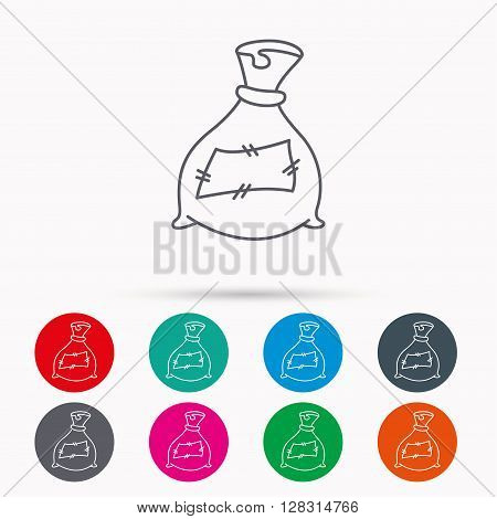 Bag with fertilizer icon. Fertilization sack sign. Farming or agriculture symbol. Linear icons in circles on white background.