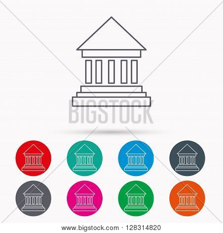 Bank icon. Court house sign. Money investment symbol. Linear icons in circles on white background.