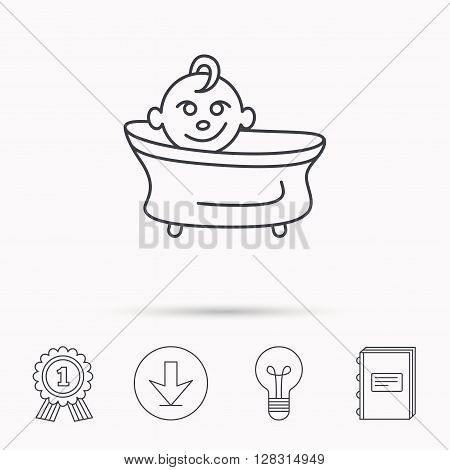 Baby in bath icon. Toddler bathing sign. Newborn washing symbol. Download arrow, lamp, learn book and award medal icons.