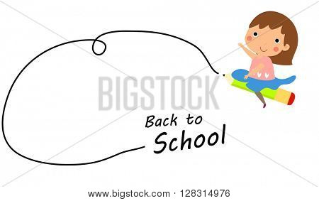 Cartoon girl riding flying pencil