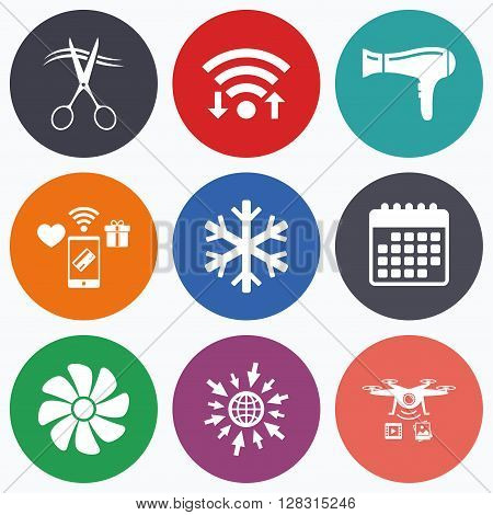 Wifi, mobile payments and drones icons. Hotel services icons. Air conditioning, Hairdryer and Ventilation in room signs. Climate control. Hairdresser or barbershop symbol. Calendar symbol.