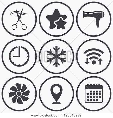 Clock, wifi and stars icons. Hotel services icons. Air conditioning, Hairdryer and Ventilation in room signs. Climate control. Hairdresser or barbershop symbol. Calendar symbol.