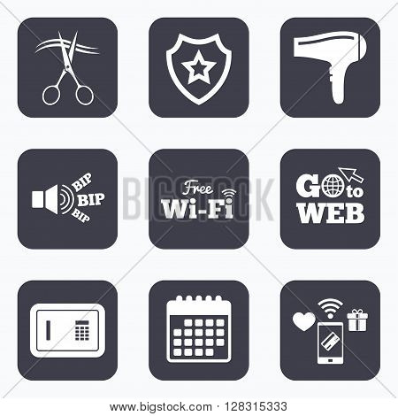 Mobile payments, wifi and calendar icons. Hotel services icons. Wi-fi, Hairdryer and deposit lock in room signs. Wireless Network. Hairdresser or barbershop symbol. Go to web symbol.